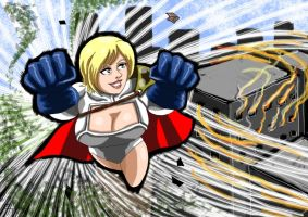 Powergirl firefights. by adamantis