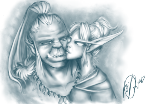 Orc and Elf sketch by Jijipoid