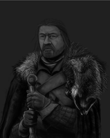 Eddard Stark (Black and White) by SaM-DwHiCh