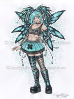 Cyber Goth Fairy by delphineart