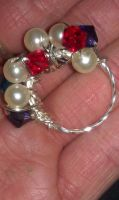 Sterling Silver red, purple, pearl, blue ring by ScoopGirl