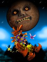 Skull Kid and The Moon by Kanokawa