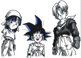 dbgt,goku,pan,and trunks by trunks24