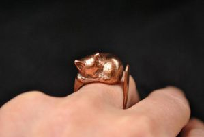Copper Cat Ring by AstridBruning