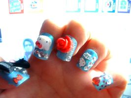 hello kitty nails by decomposing-lotus