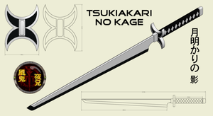 weapon reference - Tsukiakari no Kage - shikai by YaniitheWindDemon