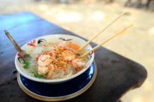 Prawns and Noodles by drewhoshkiw