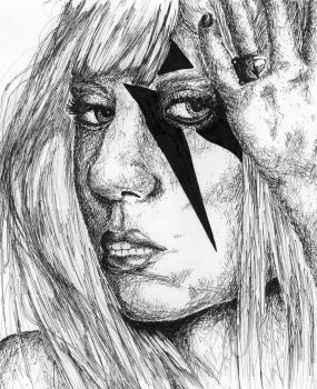 Lady Gaga Pen and Ink by leehyoriismadhot