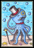 Blue Octopus ACEO 52 by Siobhan68