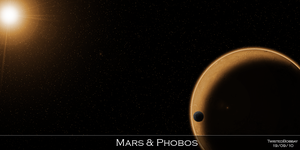 Mars and Phobos by TwistedBobbay