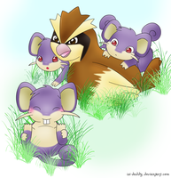 Pidgey and Rattata by Isi-Daddy