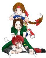 Dogpile on Iori by BlueWolfRanger95