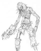 Zombie gunner by Cronofiend