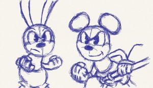 Mickey and Oswald sketches by Animator7