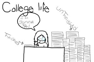My college life: Work overload by Notebook-Queen