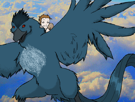 Hayner on teh Articuno by Kaana-Chan