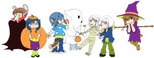 Halloween Mascots in Color by LadydragonQueen