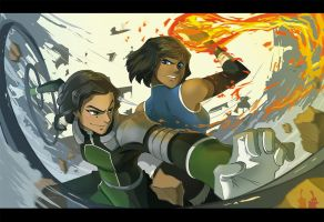 Kuvira and Korra fighting by Tamura