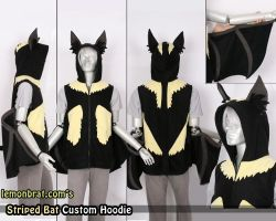 Striped Bat Custom Hoodie by lemonbrat