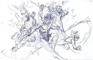 teen titans pencils by Peter-v-Nguyen