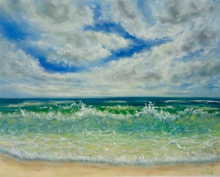 Beach Wave Oil Painting by Larisa12345
