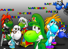 Me and my Yoshi Friends by Warcheeso