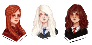 Sketch HP girls by whizumu