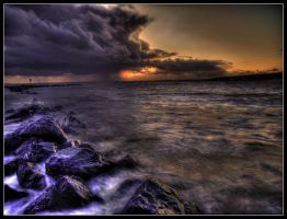 Sunset over troubled Water by Allegoria-Images