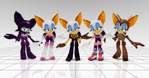 Rouge costumes from Sonic rivals 2 by JJpros