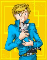 Aru and kitten by Cofie