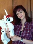 Lauren Faust with the Fausticorn I Made for Her by WhiteDove-Creations