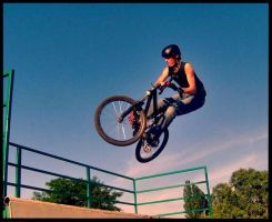 barspin on quarter pipe by jumpoff-pl