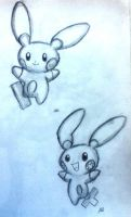 Plusle and Minum by blue-jellybeans