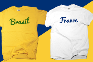 Custom T shirt France - Brazil by wordanscustomtshirts