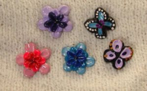 flower and butterfly magnets by KRSdeviations