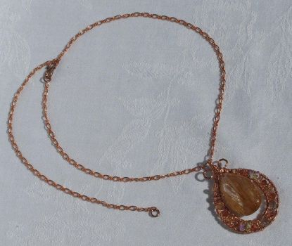 Copper Rutilated Quartz and Wire Wrapped Necklace by baylady