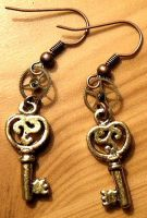 Steampunk Key earrings by StaticSkies