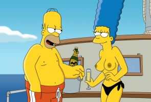 Marge topless on boat by WVS1777