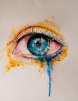cry by watercolor by Kszesiu