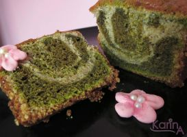 Cherry and Green Tea Marbled Loaf Cake by SkuttyWan