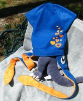 Blue Squid Hat with Hearts by grimmhooke