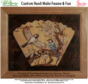 Hand made frame and fan and pyrograph by snazzie-designz