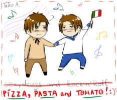 APH: Pizza, pasta and tomato by Tayo-kun