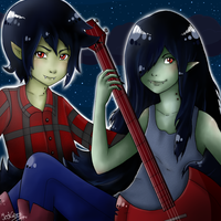 Marceline and Marshall Lee by Jaskierka