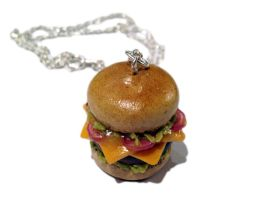 Onion Cheeseburger Necklace/Charm by delectablycharming