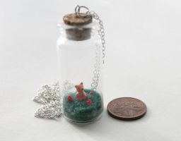 Tiny Polymer Clay Fox in a Bottle Necklace by ChroniclesOfKate