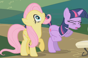fluttershy spitting while twilight chicken dances by rainbowxrarity1