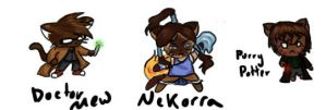 Doctor Mew, NeKorra, and Purry Potter by Sunflowers-and-Fox