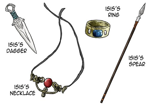 Commission: Isis Jewelry/Weapon Set by yinyangswings