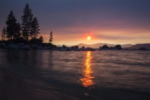 Late Afternoon at Tahoe with a Smoke-Filled Sky by sellsworth